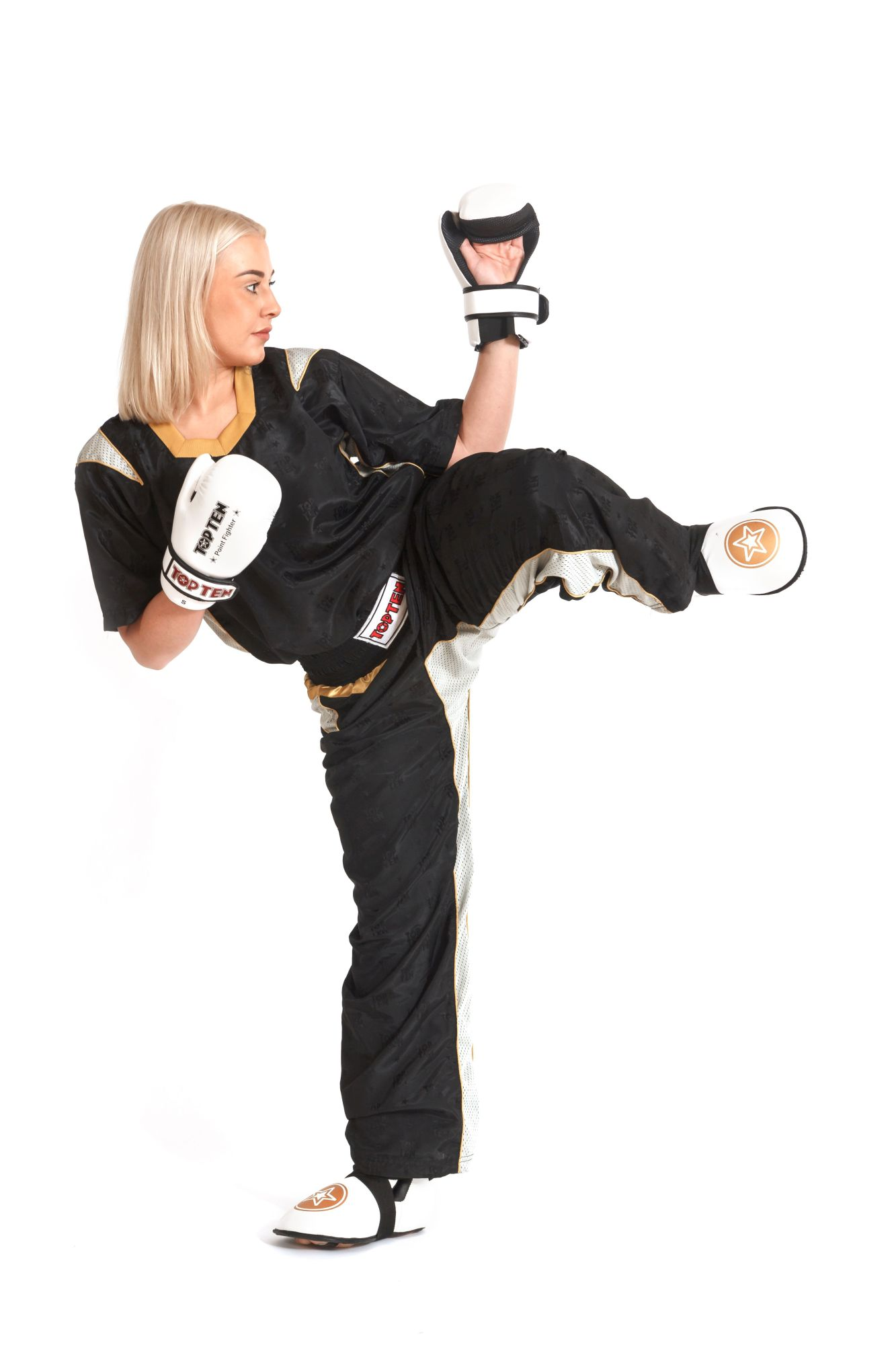 """Kickboksuniform """"PQ Mesh"""" voor kinderen Zwart - goud"""