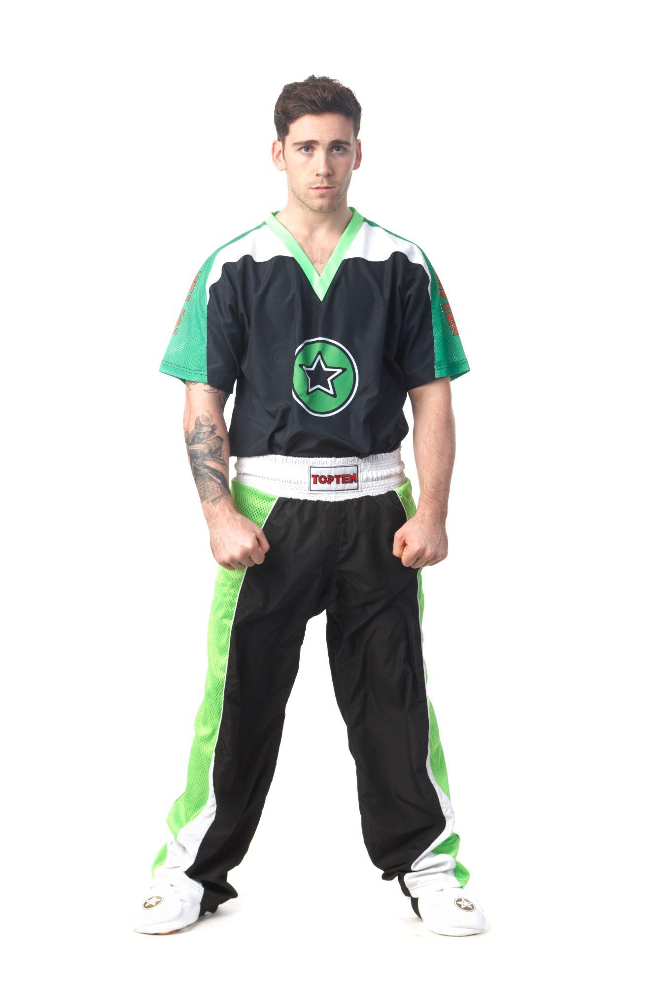 """Kickboksuniform """"Star"""" voor kinderen Zwart - Groen"""