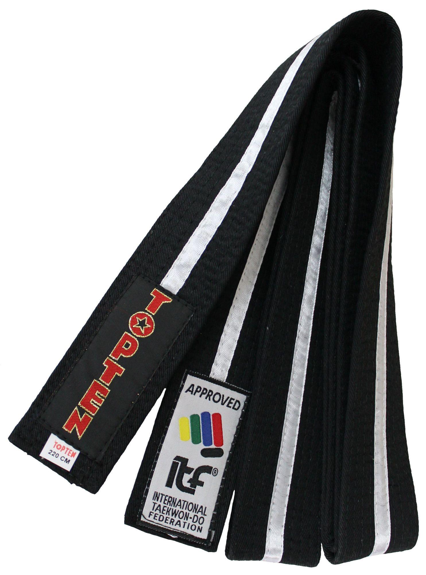 "TOP TEN Taekwondoband ""ITF"" Zwart - Wit"