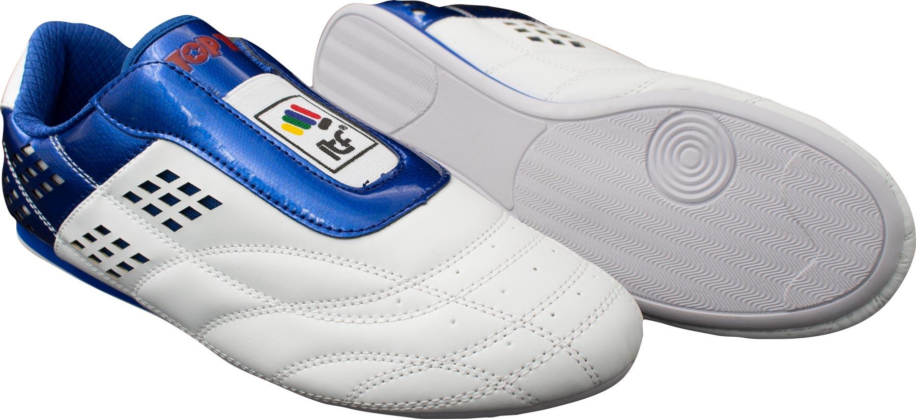 """TOP TEN Martial Arts schoenen """"ITF"""" Wit - Blauw"""