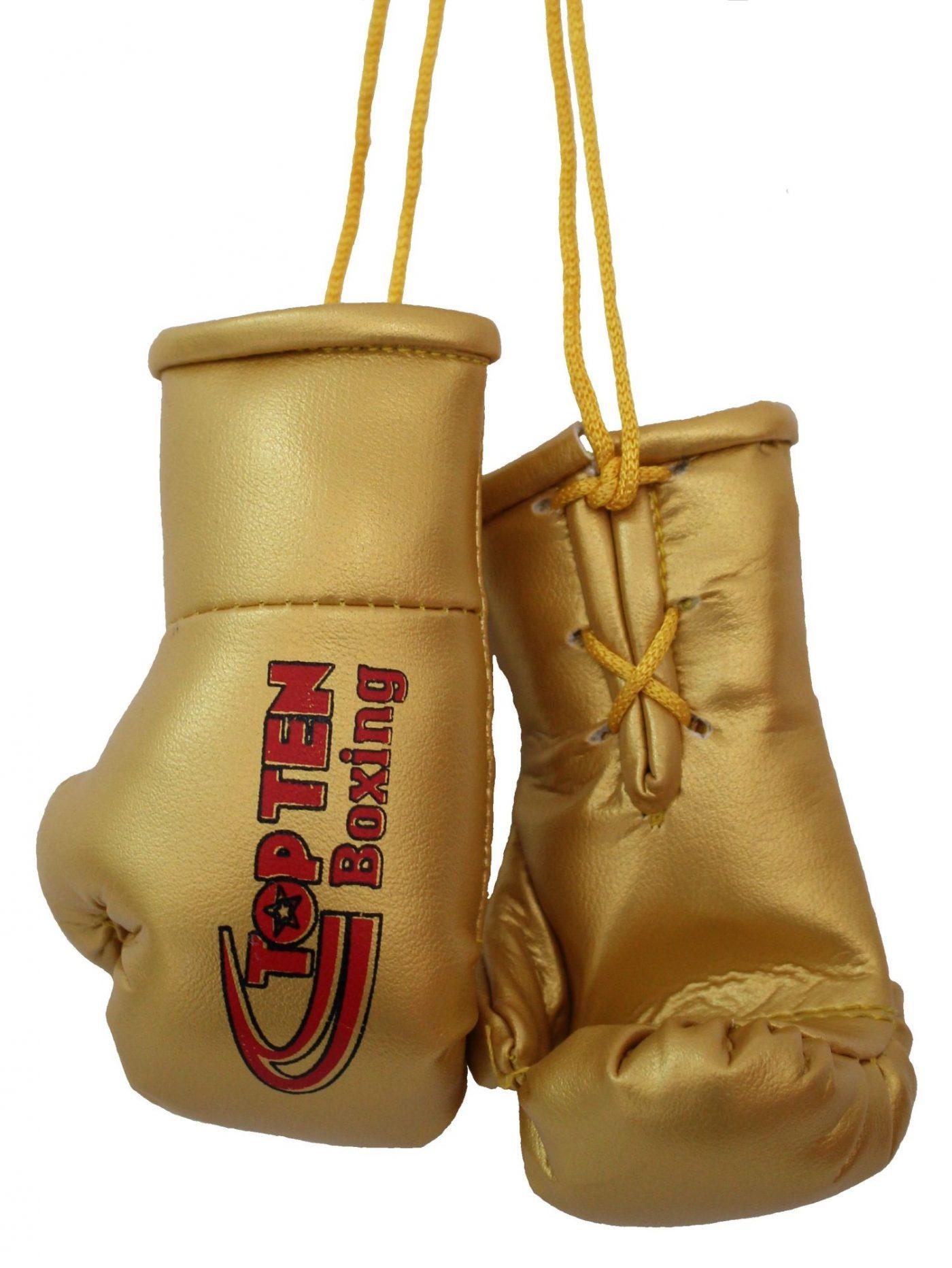 """TOP TEN Mini bokshandschoenen """"TOP TEN Boxing"""" goud"""