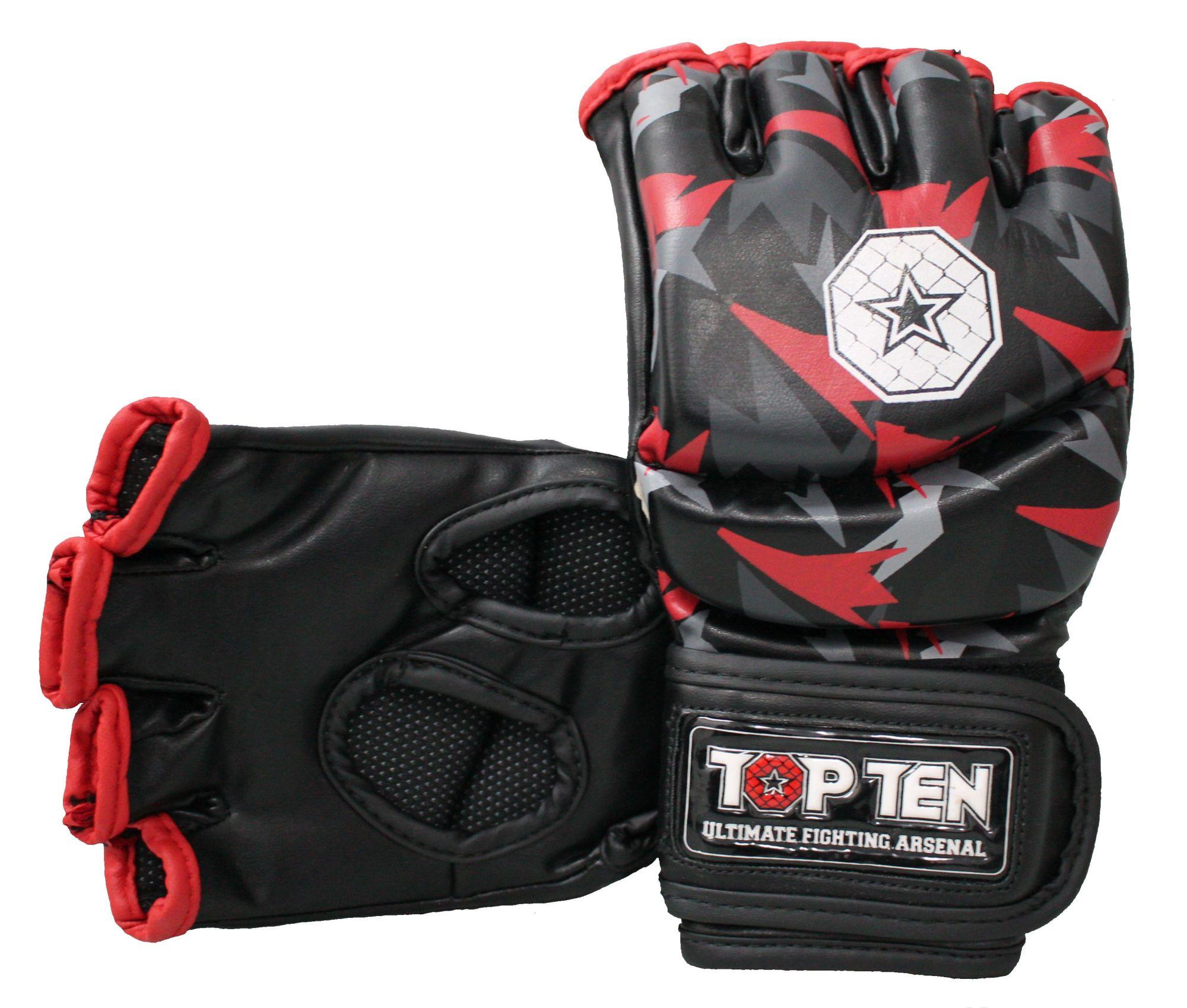 """TOP TEN MMA MMA handschoenen """"Jungle"""" Zwart - rood"""