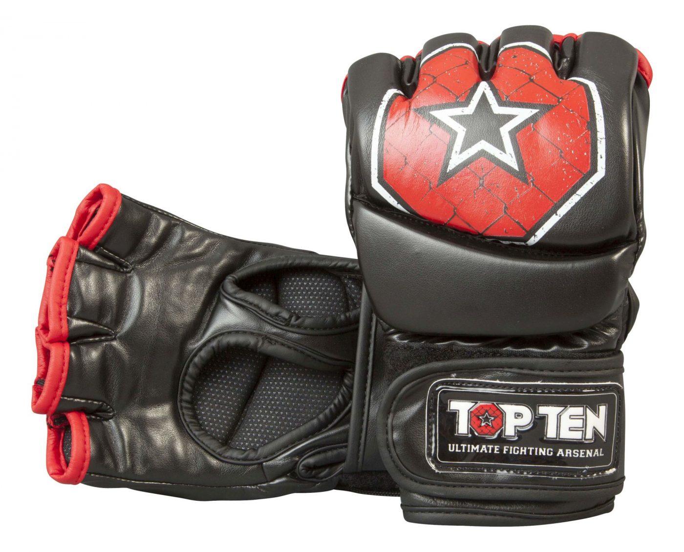 """TOP TEN MMA MMA handschoenen """"Octagon"""" Zwart - rood"""