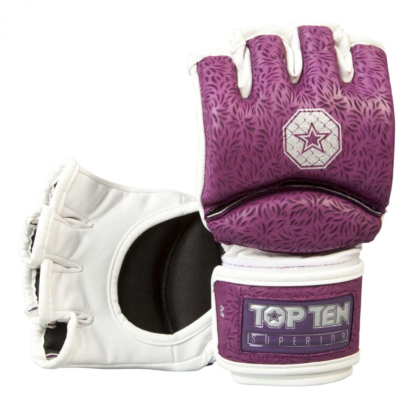 """TOP TEN MMA MMA handschoenen """"Superior"""" voor dames Paars - Wit"""