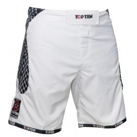 """TOP TEN MMA MMA broekje """"Cage"""" Wit - Zwart"""
