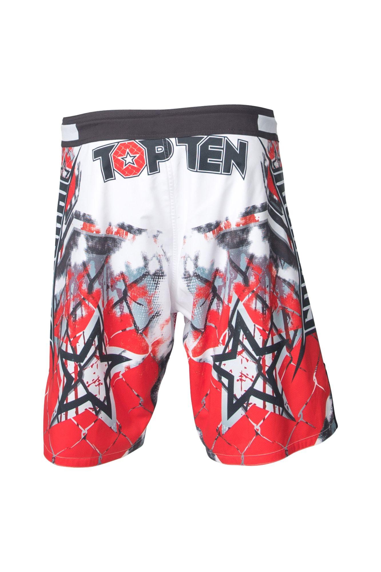 "TOP TEN MMA MMA broekje ""Samurai I"" Wit - rood"
