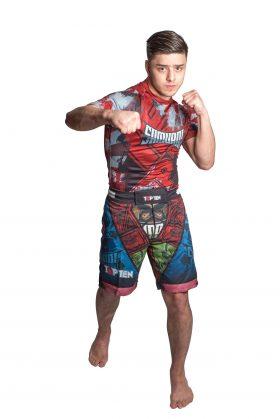 "MMA broekje ""Samurai II"" Blauw - rood"