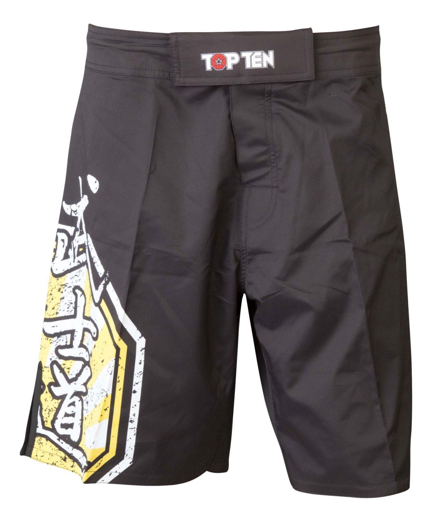 "TOP TEN MMA MMA broekje ""Sunrise"" Zwart - Geel"