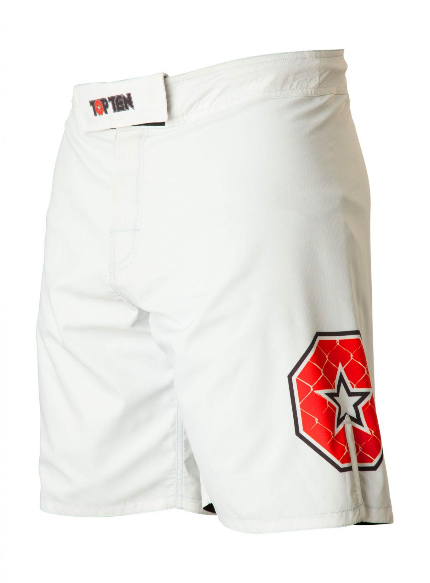 """TOP TEN MMA MMA broekje """"Triangle"""" Wit - rood"""