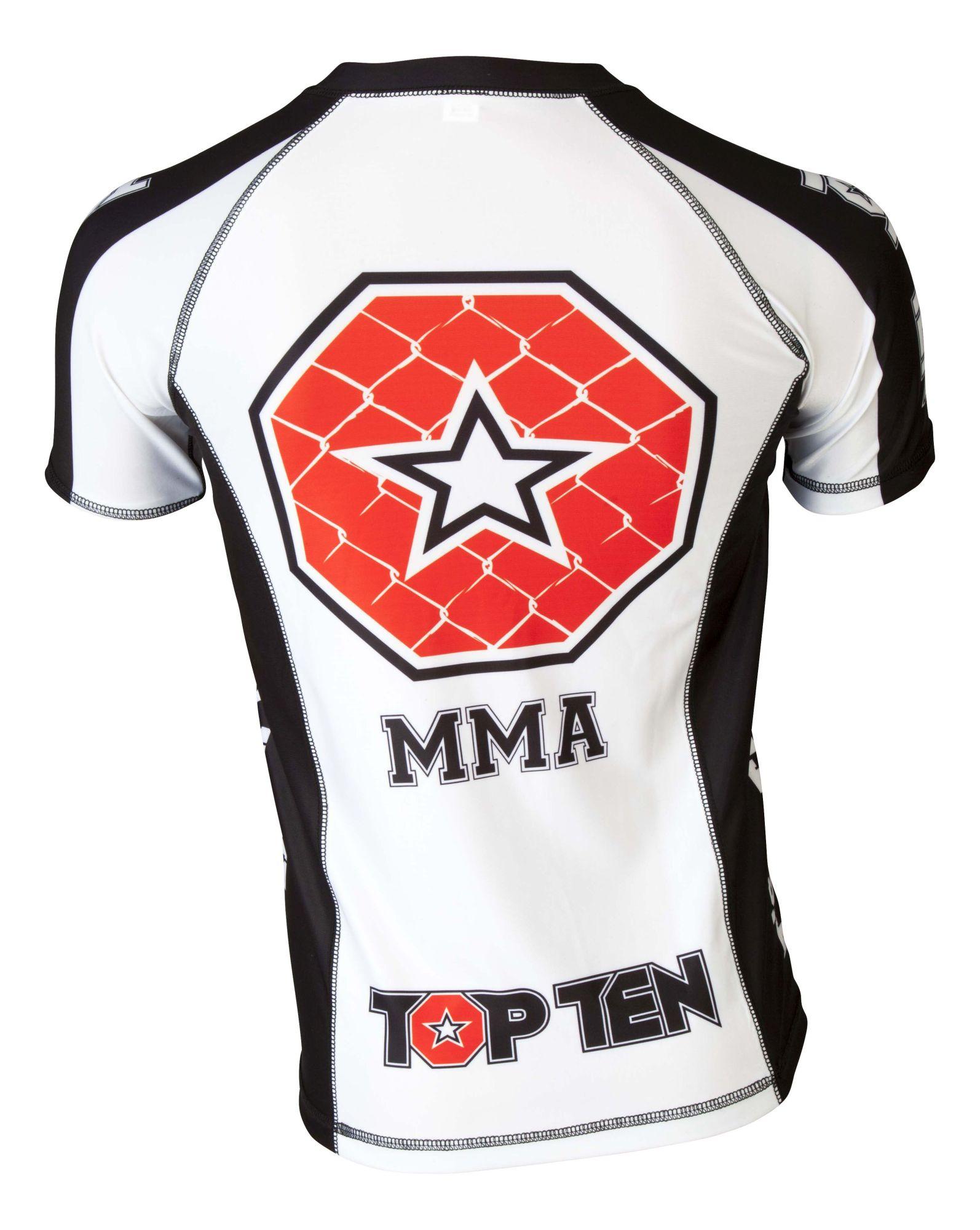 "TOP TEN MMA Rashguard ""It´s in the cage"" Wit - Zwart"
