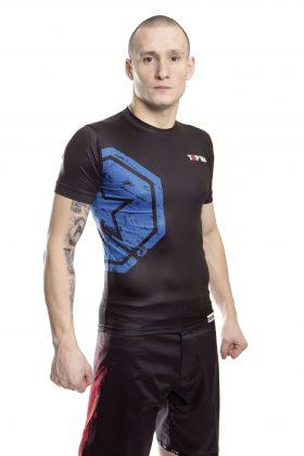 "TOP TEN MMA Rashguard ""MMA Octagon"" Zwart - Blauw"