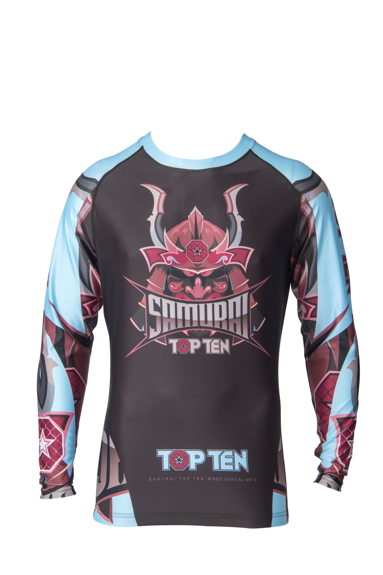 "TOP TEN MMA Rashguard ""Samurai"" Zwart - Licht Blauw"