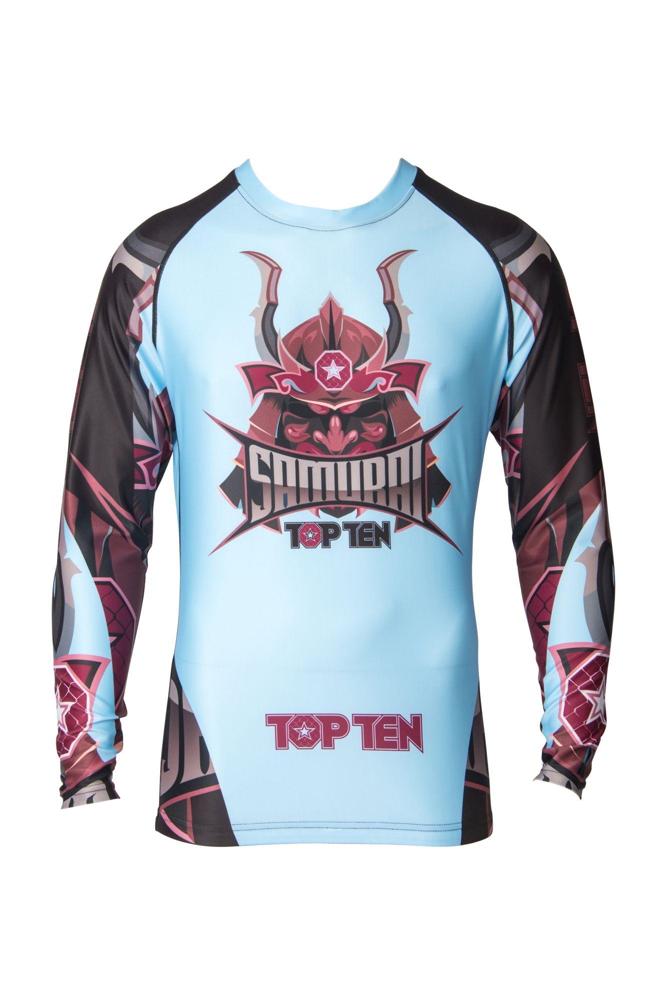 "TOP TEN MMA Rashguard ""Samurai"" Licht Blauw - Zwart"
