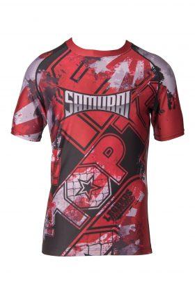 """TOP TEN MMA Rashguard """"Samurai"""" Rood - Zwart"""