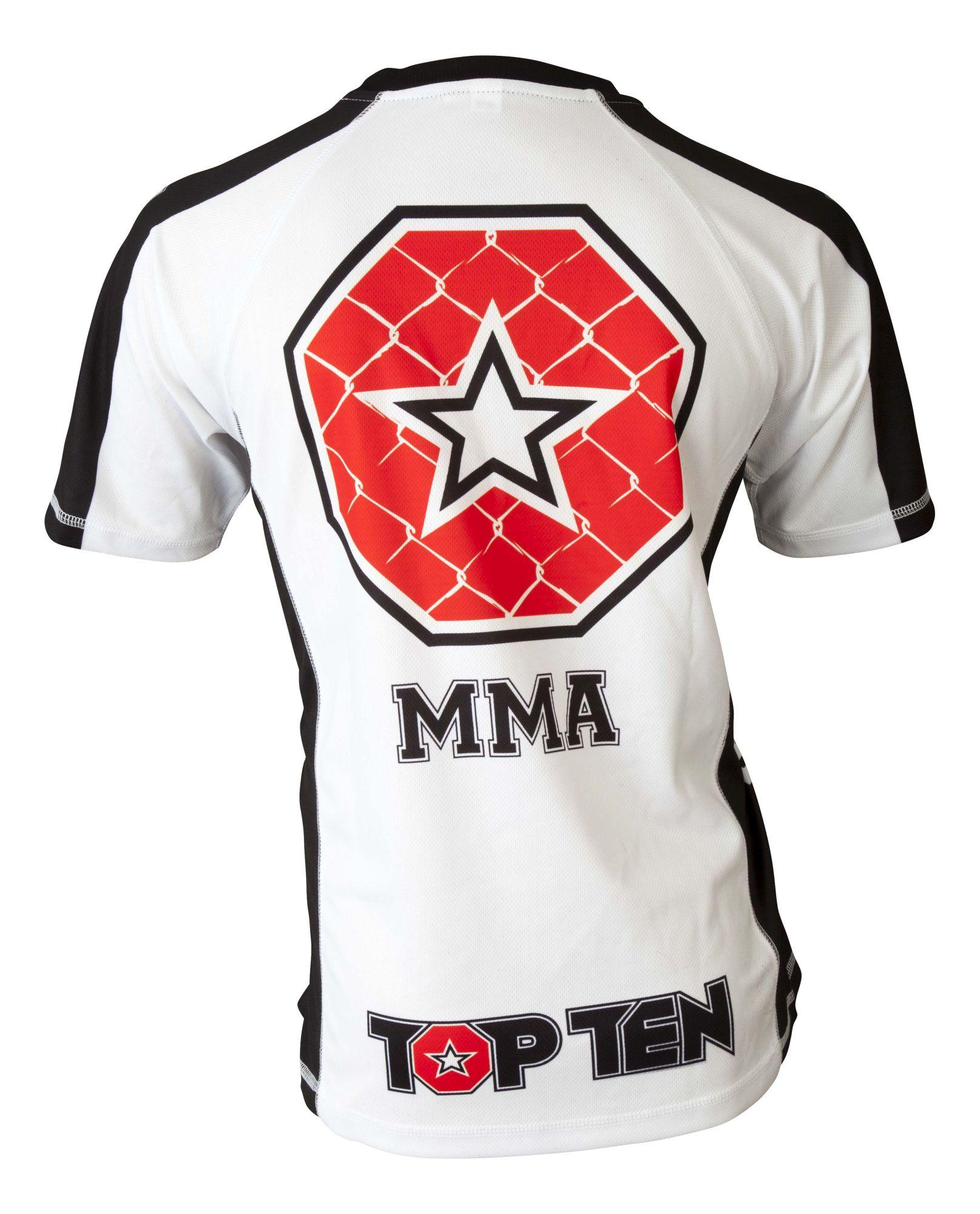 """TOP TEN MMA T-Shirt """"It´s in the cage"""" Wit - Zwart"""