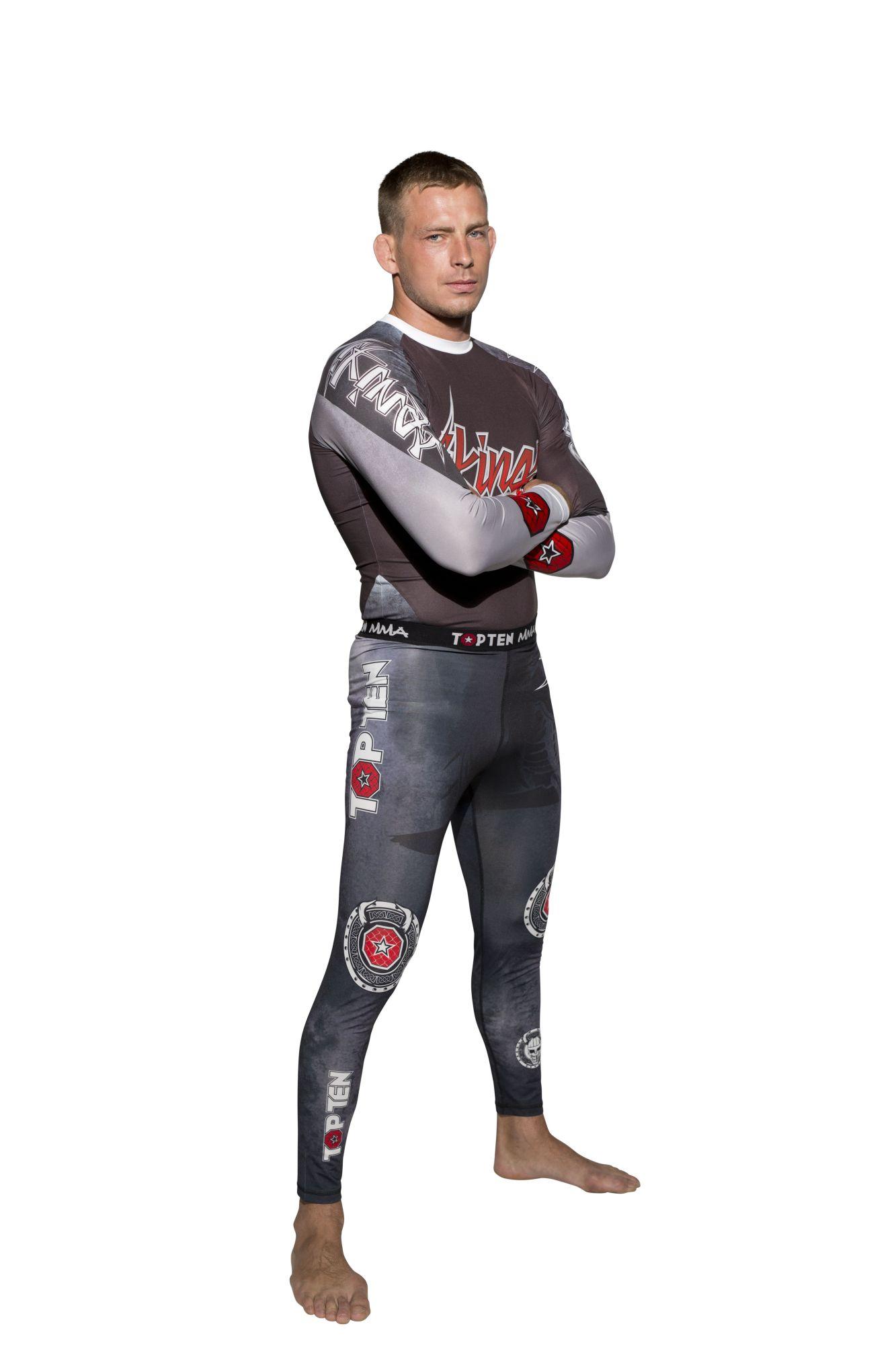 """TOP TEN MMA Compressiebroek / Legging """"Vikings"""" Zwart - rood"""