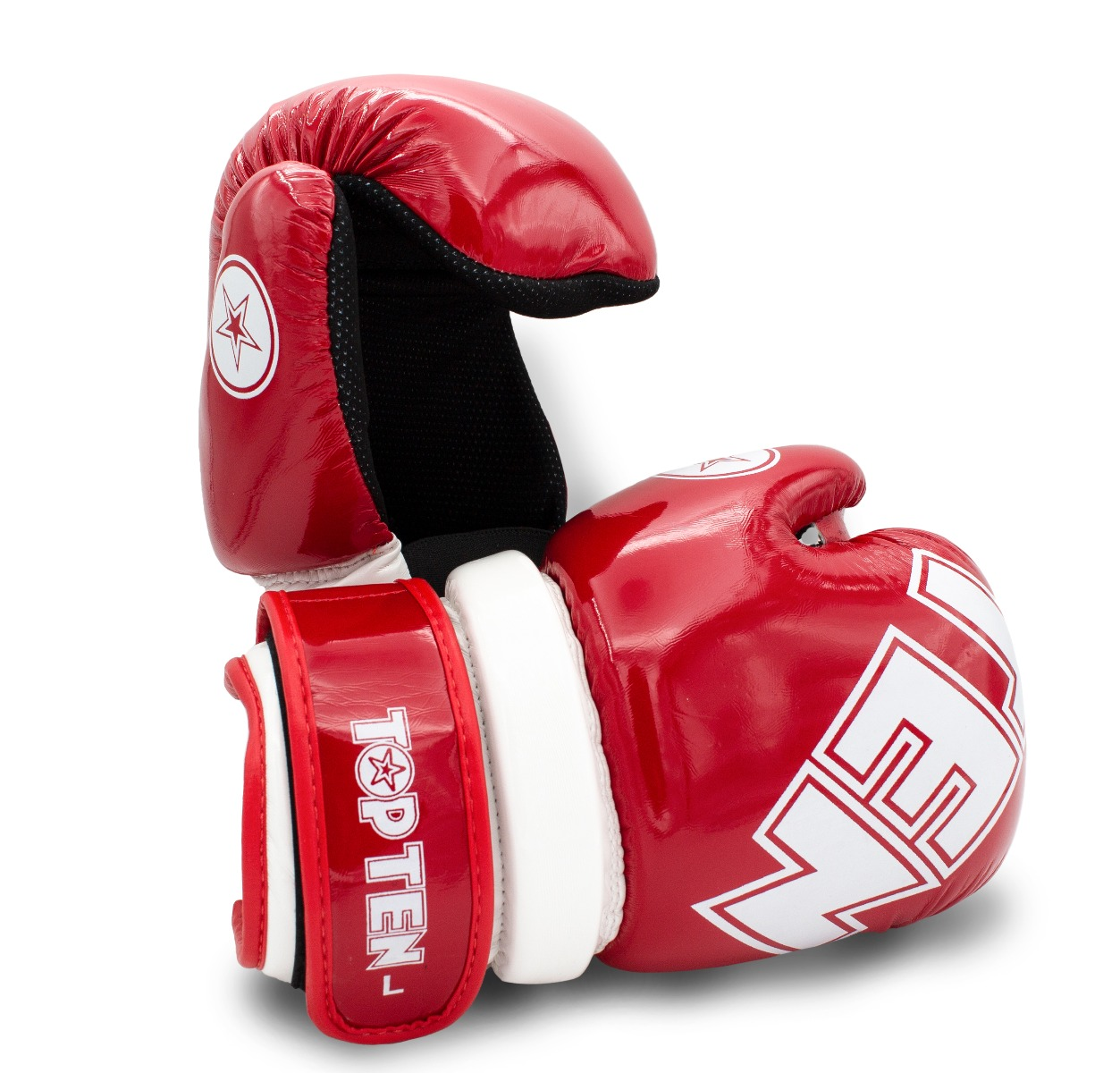 """TOP TEN Pointfighter """"Glossy Block"""" Rood - Wit"""