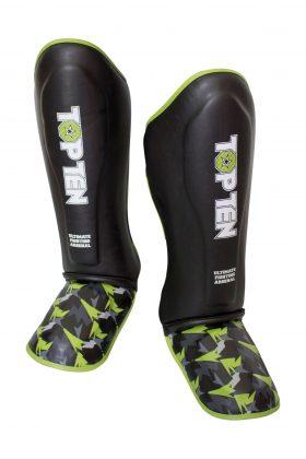 """Scheenbeschermers """"Jungle"""" voor thaiboksen / K1 / MMA Zwart - Groen"""