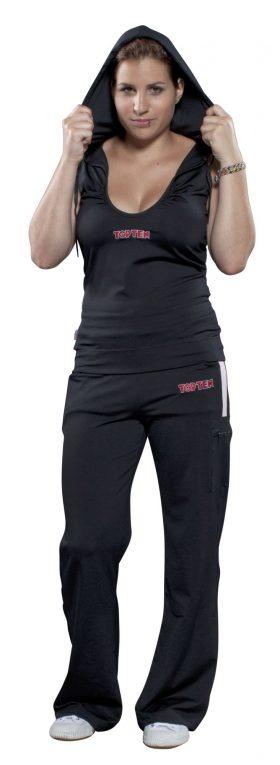 Mouwloos hoodie voor dames met lage hals Zwart