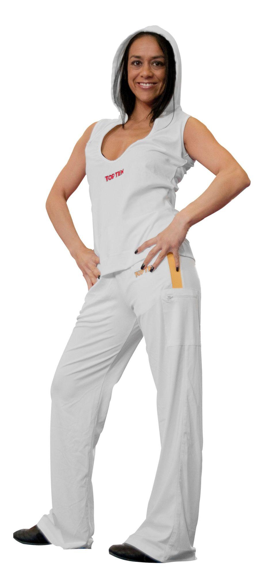 TOP TEN Mouwloos hoodie voor dames met lage hals Wit