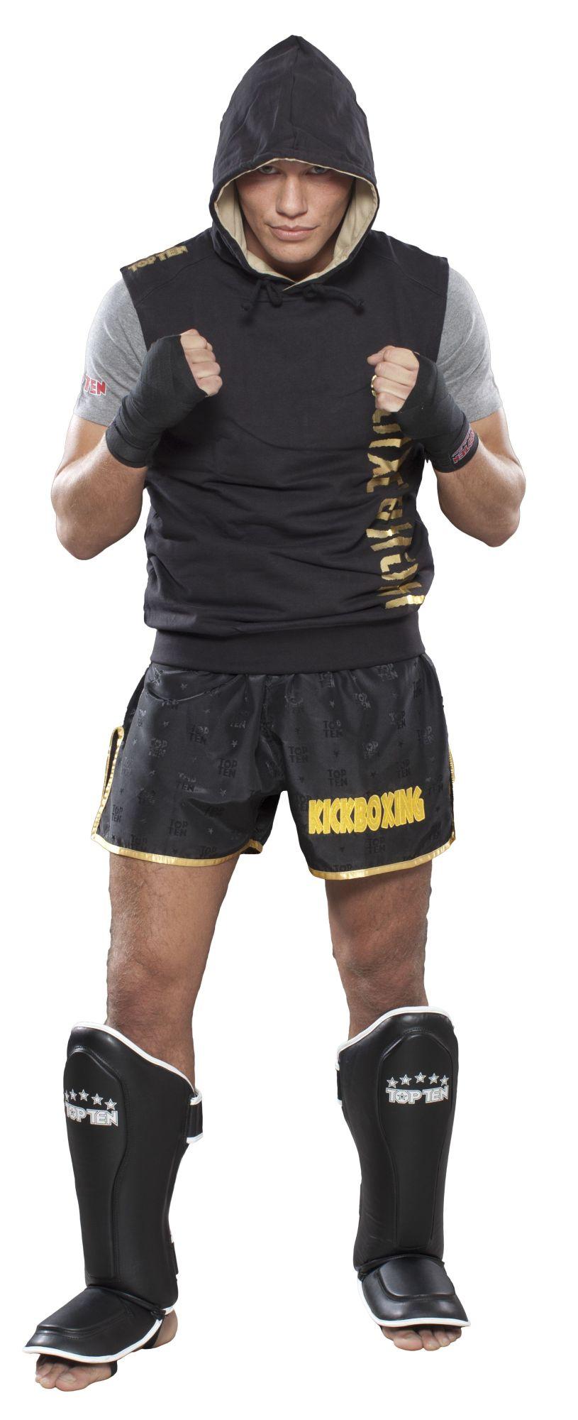 """TOP TEN Mouwloos hoodie """"Kickboxing"""" Zwart - goud"""