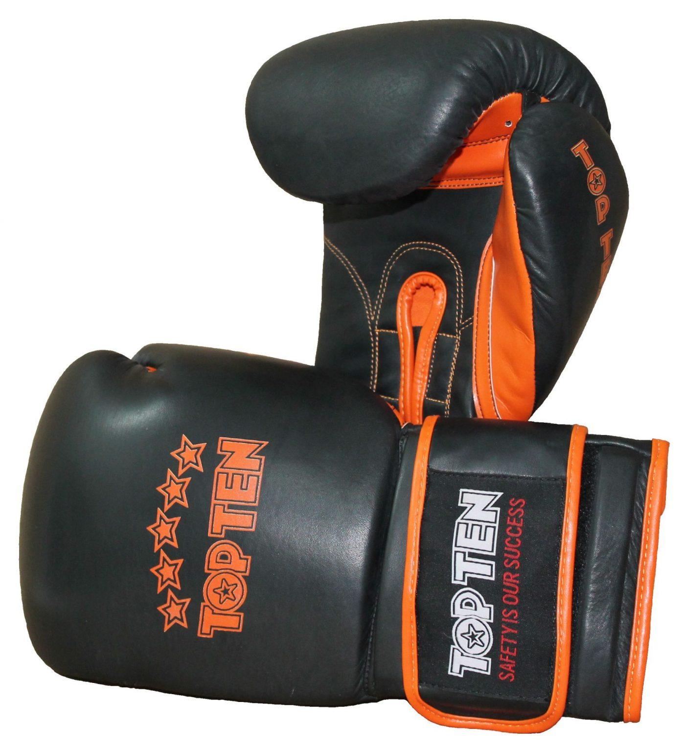 """TOP TEN sparringshandschoenen """"Elite"""" Zwart - Oranje"""