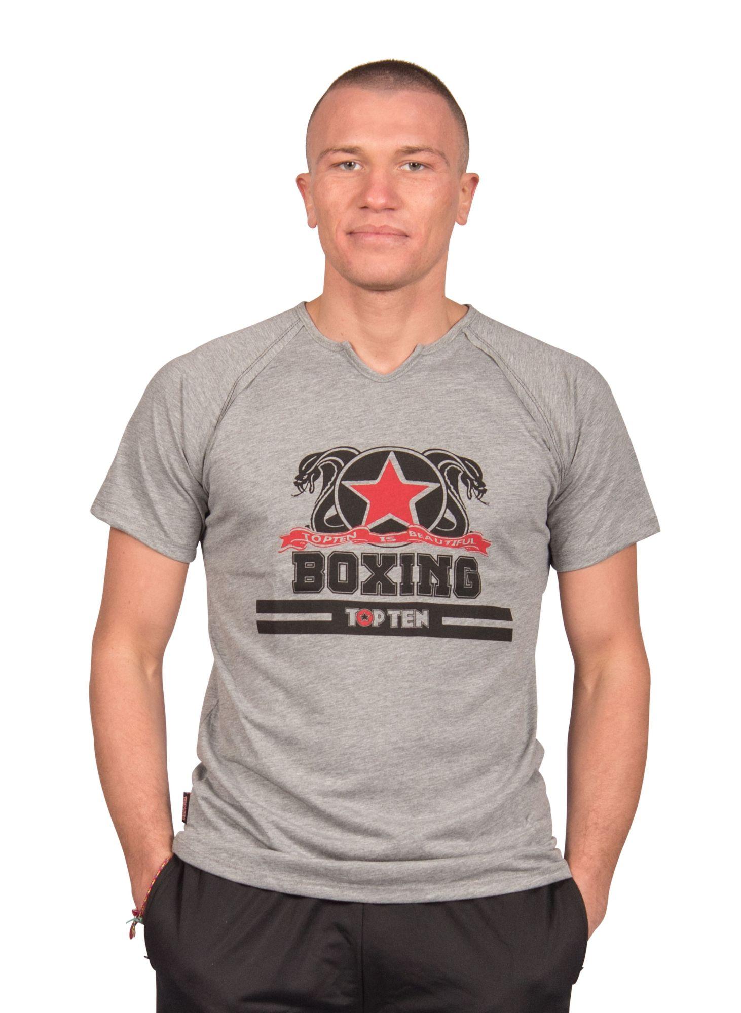 """TOP TEN T-Shirt """"Boxing"""" Grijs"""