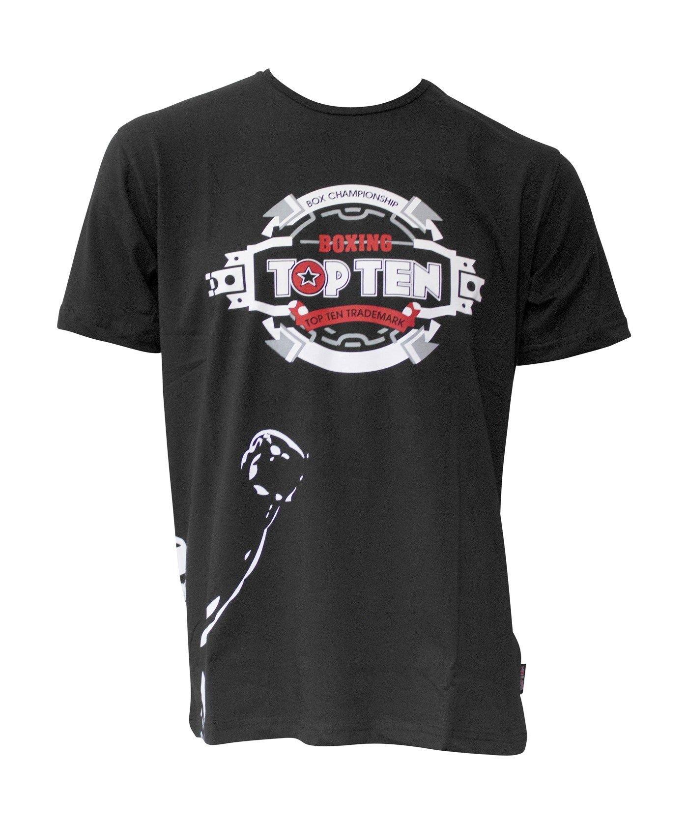 """TOP TEN T-Shirt """"Fighter"""" Zwart"""