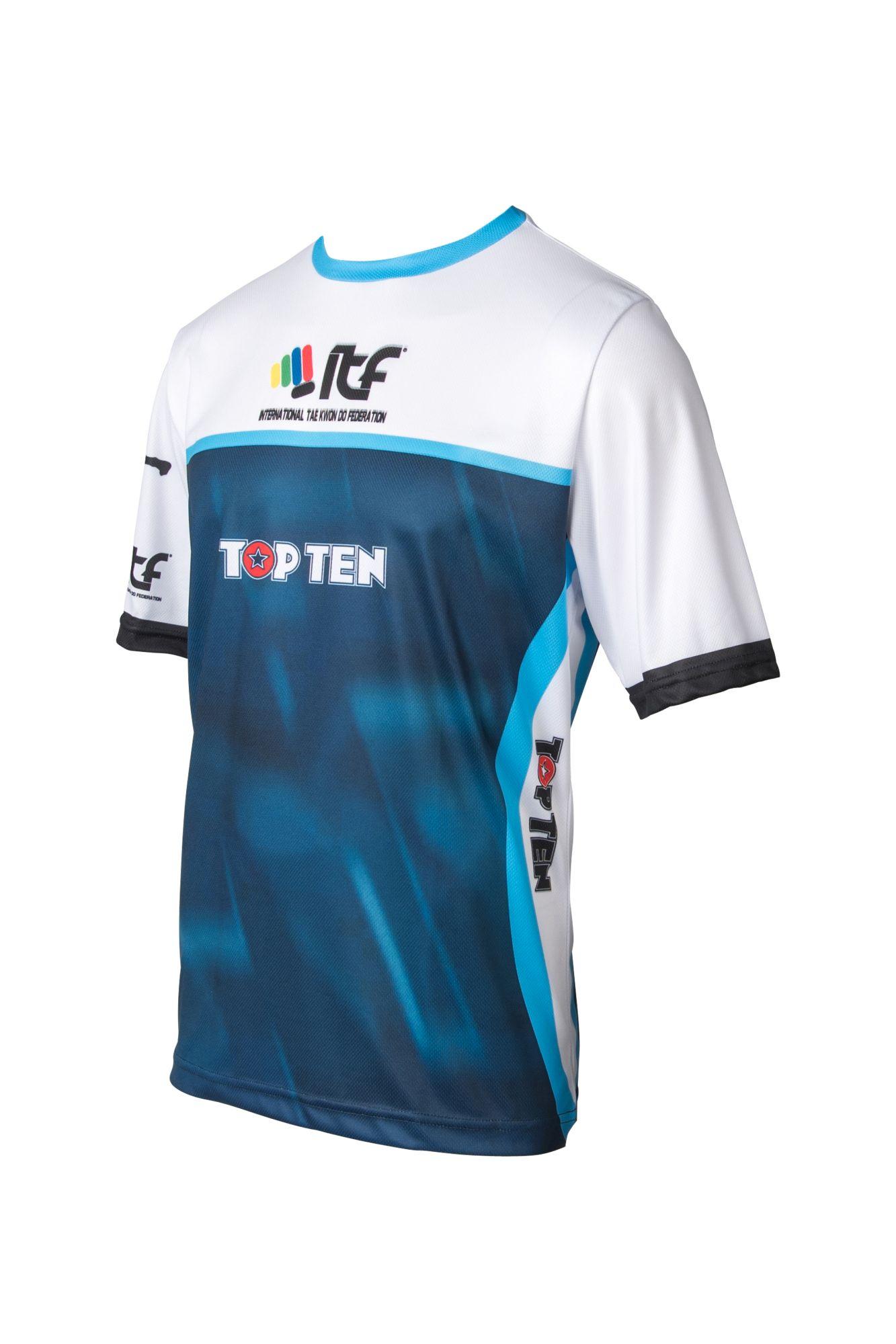 "TOP TEN T-Shirt ""ITF"" Blauw - Wit"