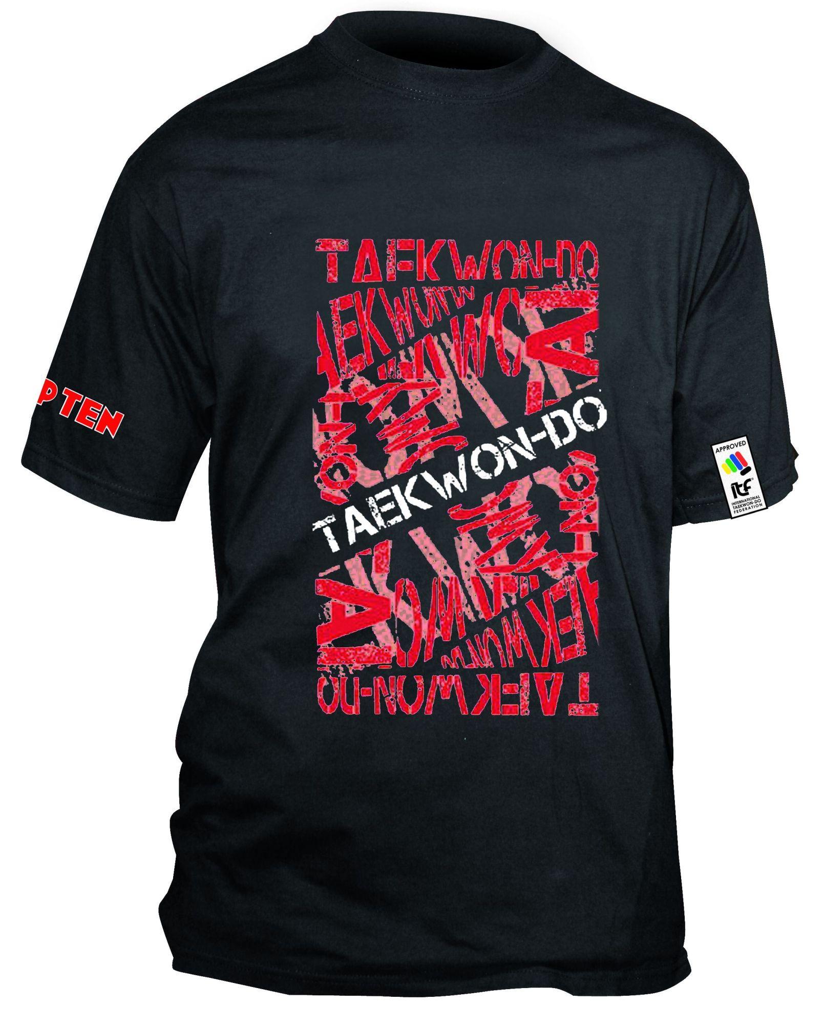 """TOP TEN T-Shirt """"ITF Taekwondo"""" wit Zwart - rood"""