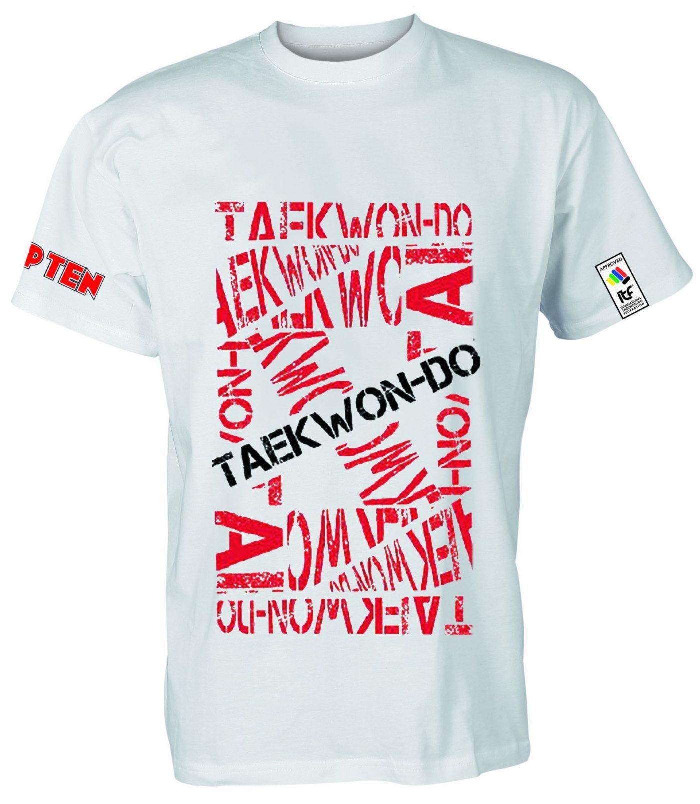 "TOP TEN T-Shirt ""ITF Taekwondo"" wit Wit - rood"