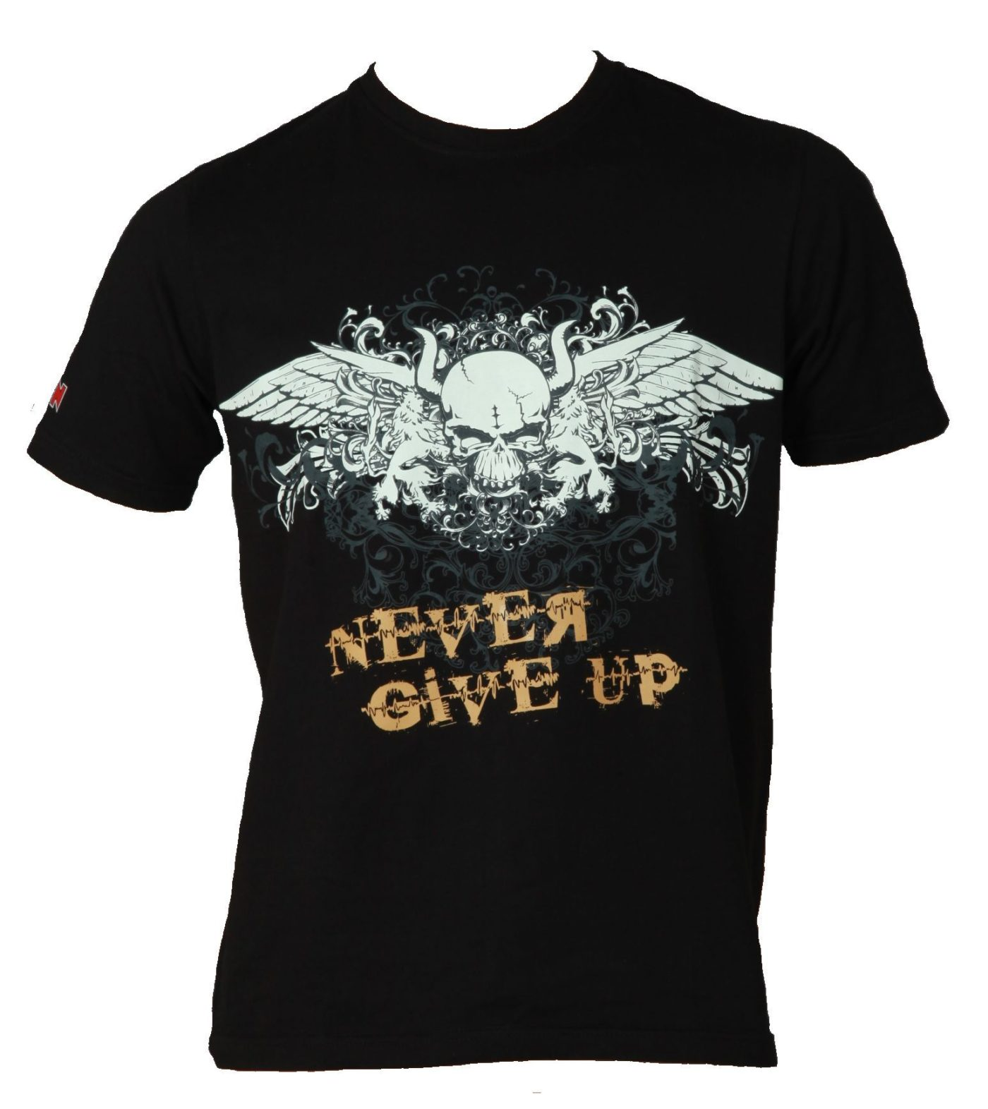 """T-Shirt """"Never give up"""" Zwart"""