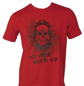 """T-Shirt """"Never give up"""" Rood"""