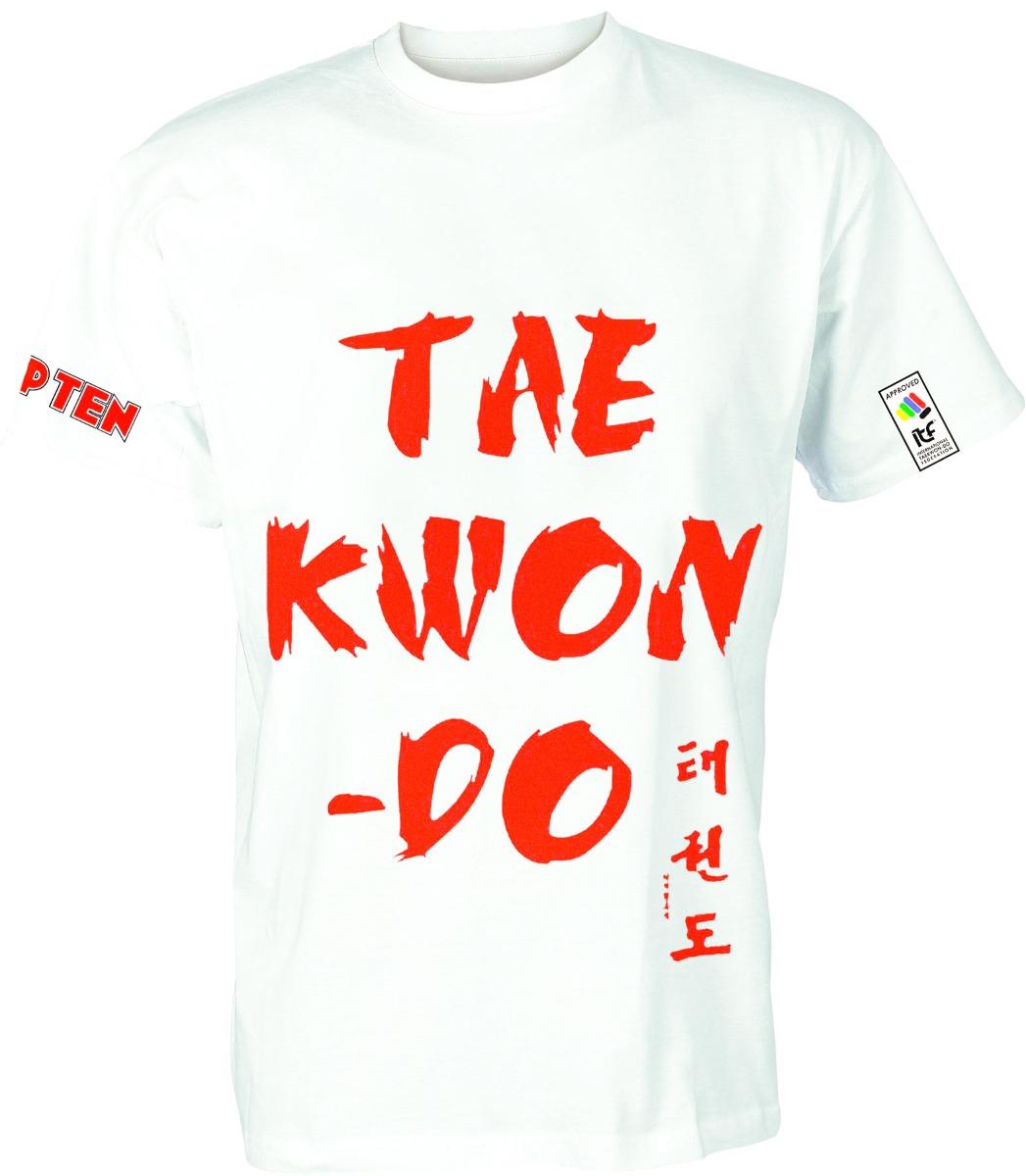 "TOP TEN T-Shirt ""Taekwondo"" Wit - rood"