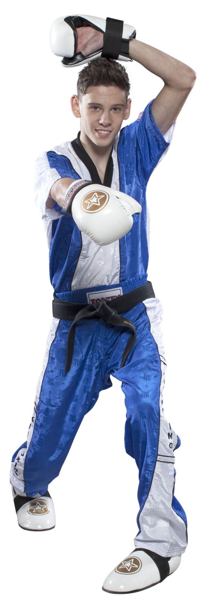 """TOP TEN T-Shirt  V-Hals voor kickboksen """"Kickboxing"""" Blauw - Wit"""