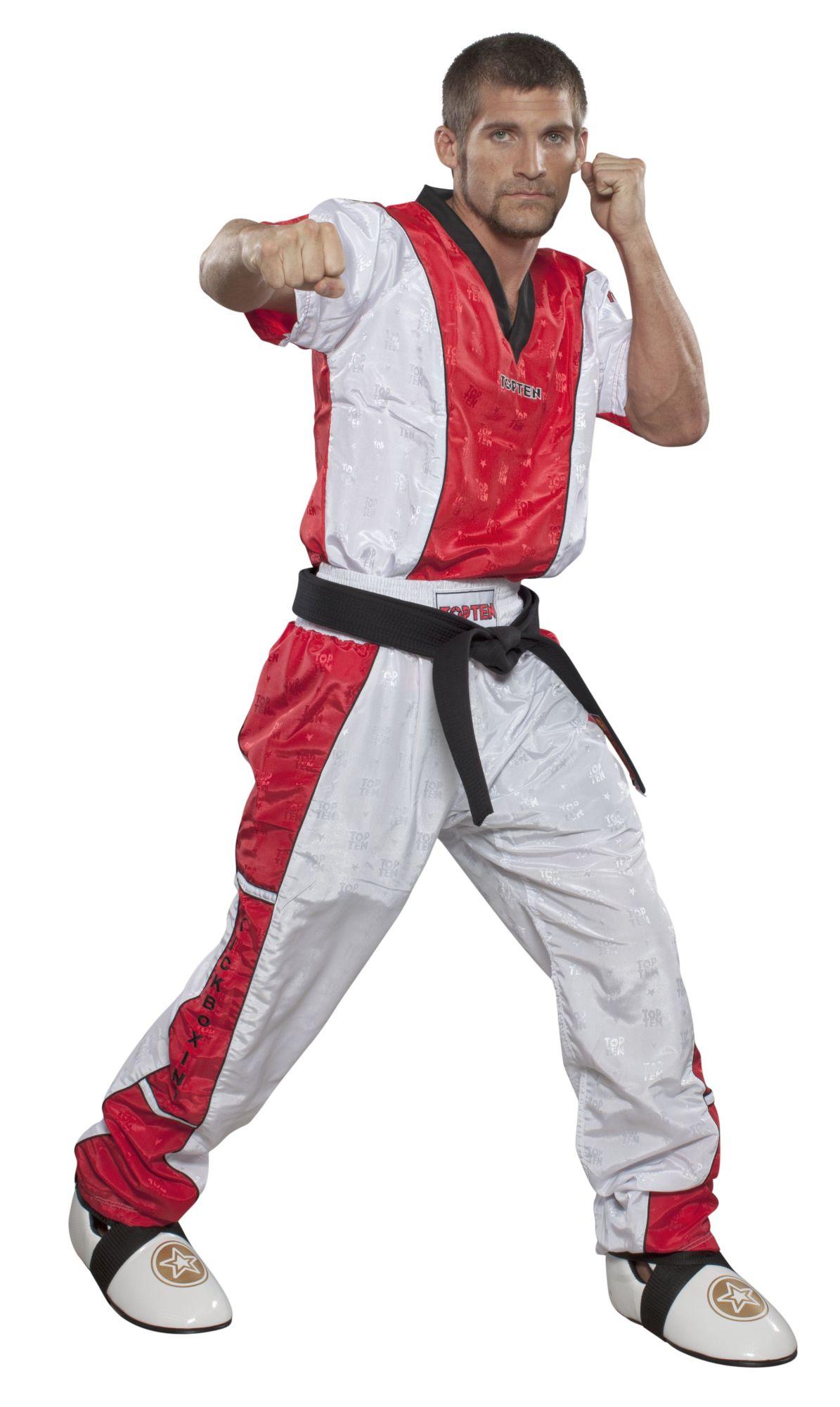 """T-Shirt  V-Hals voor kickboksen """"Kickboxing"""" Wit - rood"""