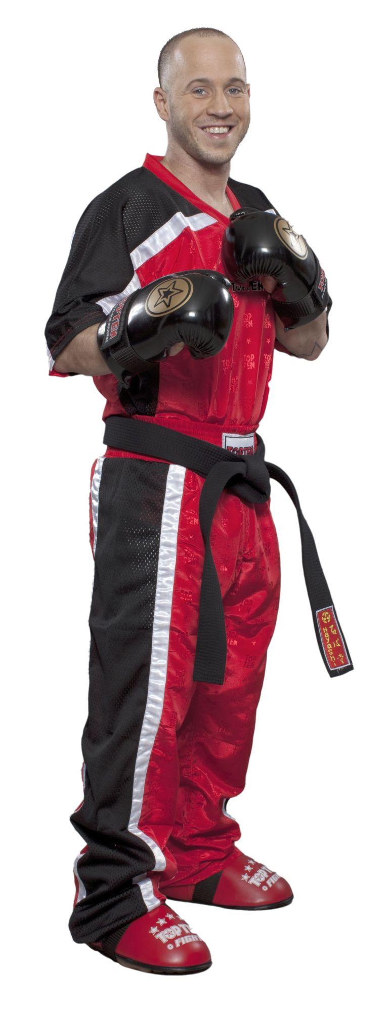 """Kickboks T-Shirt met V-Hals """"Mesh"""" (Zwart / rood)"""