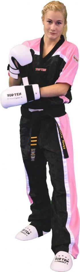 """T-Shirt  V-Hals voor kickboksen """"Mesh"""" Zwart - Roze"""