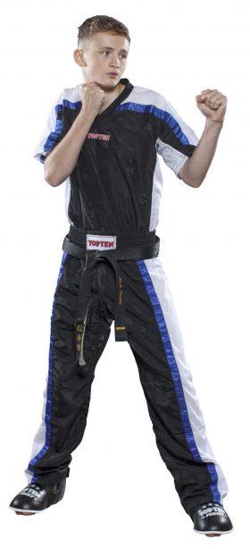 """T-Shirt  V-Hals voor kickboksen """"Mesh"""" Zwart - Wit"""