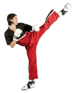 "T-Shirt  V-Hals voor kickboksen ""Superfighter Collection"" Zwart - rood"