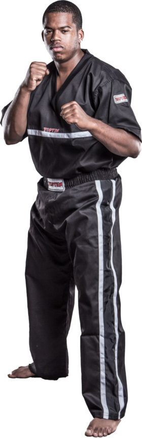 "T-Shirt  V-Hals voor kickboksen ""Superfighter Collection"" Zwart"