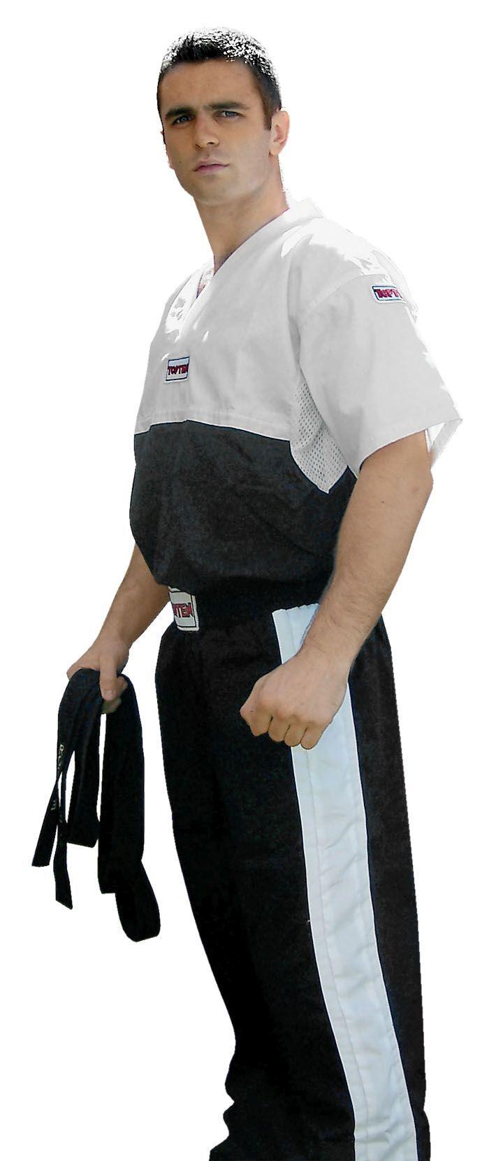 "T-Shirt  V-Hals voor kickboksen ""Superfighter Collection"" Zwart - Wit"