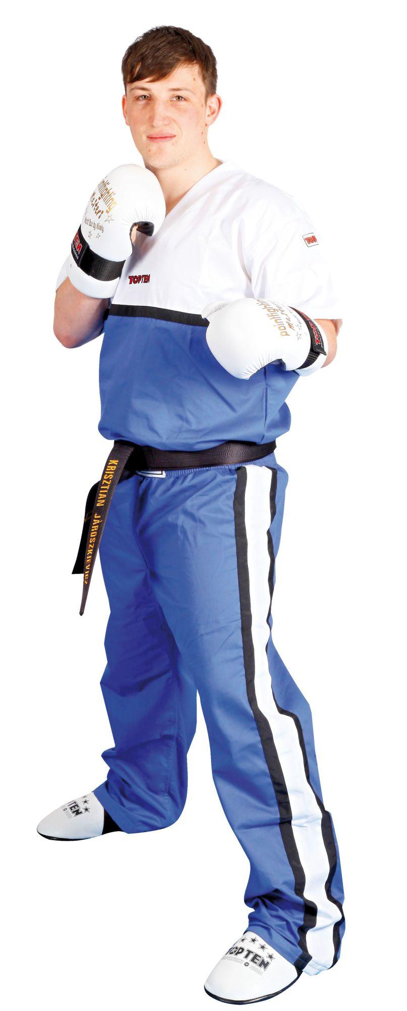 """TOP TEN T-Shirt V-Hals voor kickboksen """"Superfighter Collection"""" Blauw - Wit"""