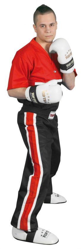 "T-Shirt  V-Hals voor kickboksen ""Superfighter Collection"" Rood - Zwart"