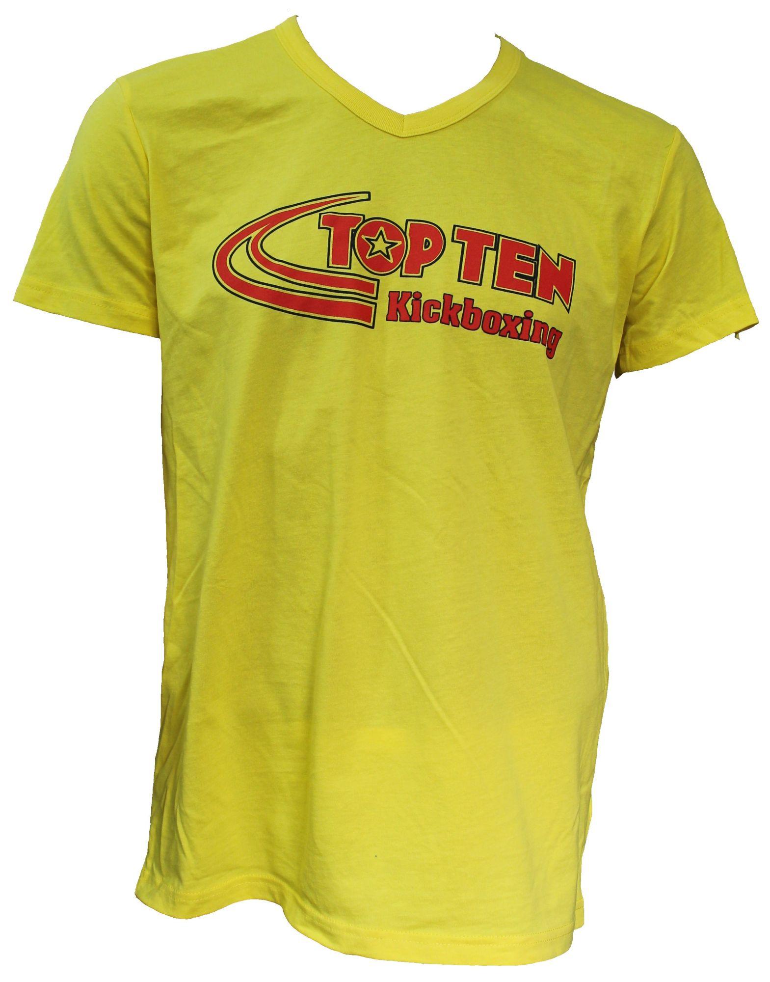 """TOP TEN T-Shirt  V-Hals """"Kickboxing"""" Geel"""