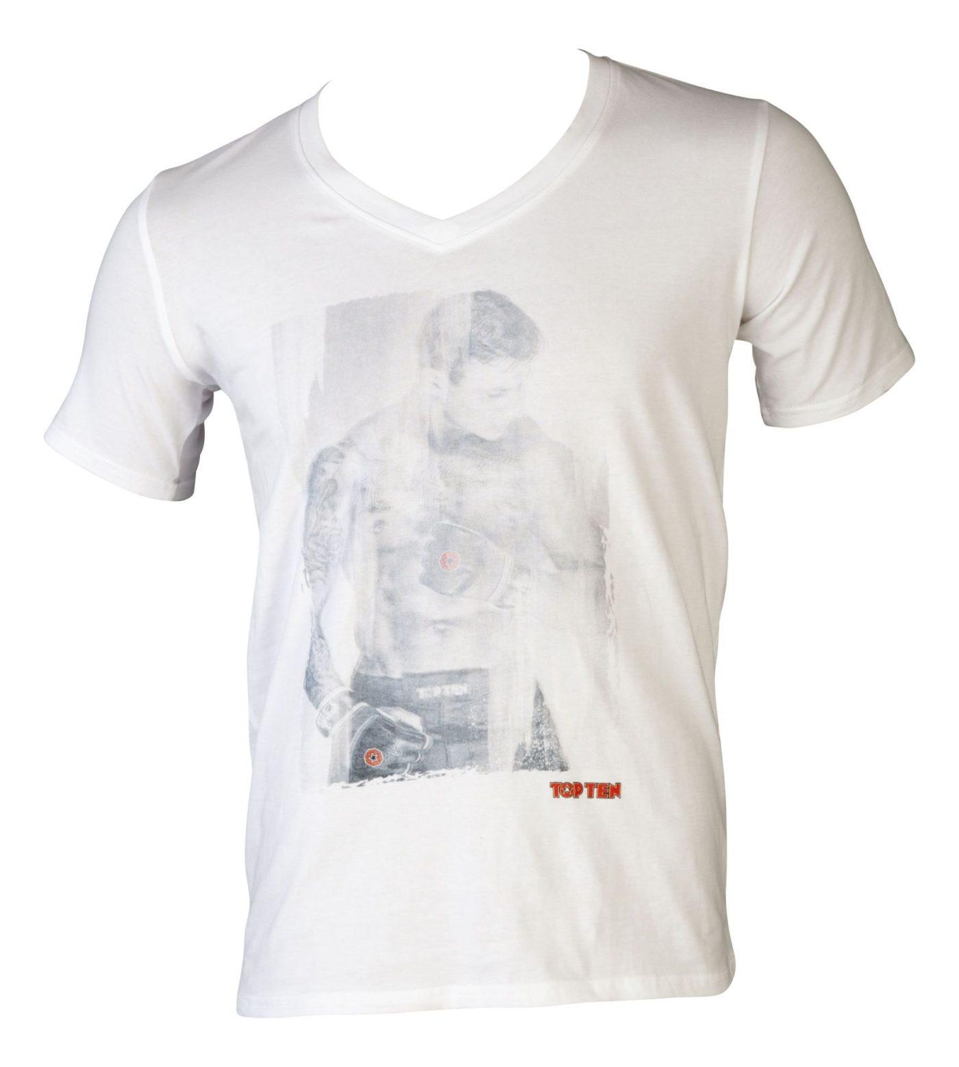"TOP TEN T-Shirt V-Hals ""MMA Fighter"" Wit"