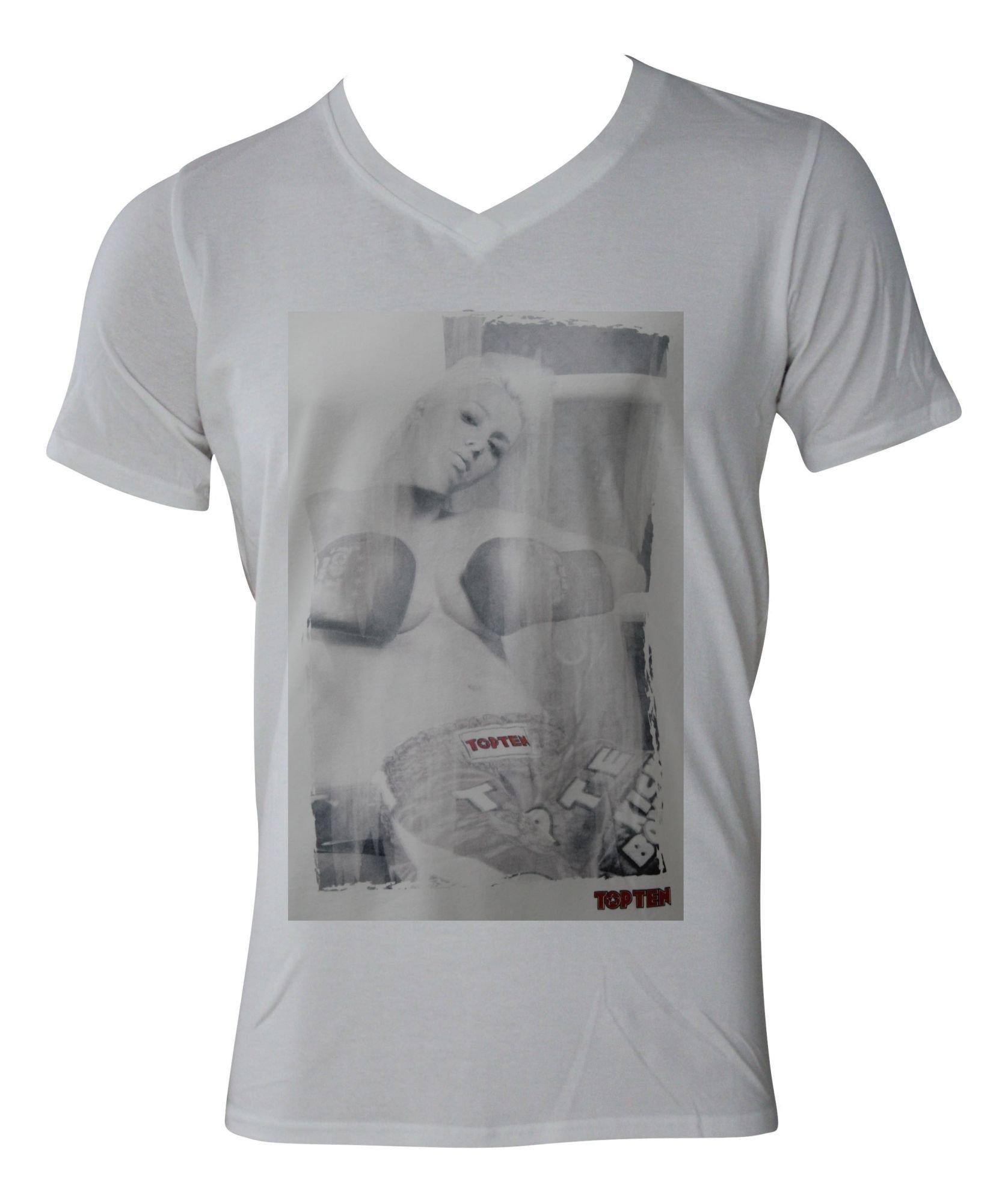 "TOP TEN T-Shirt  V-Hals ""Ringgirl sitting II"" Wit"