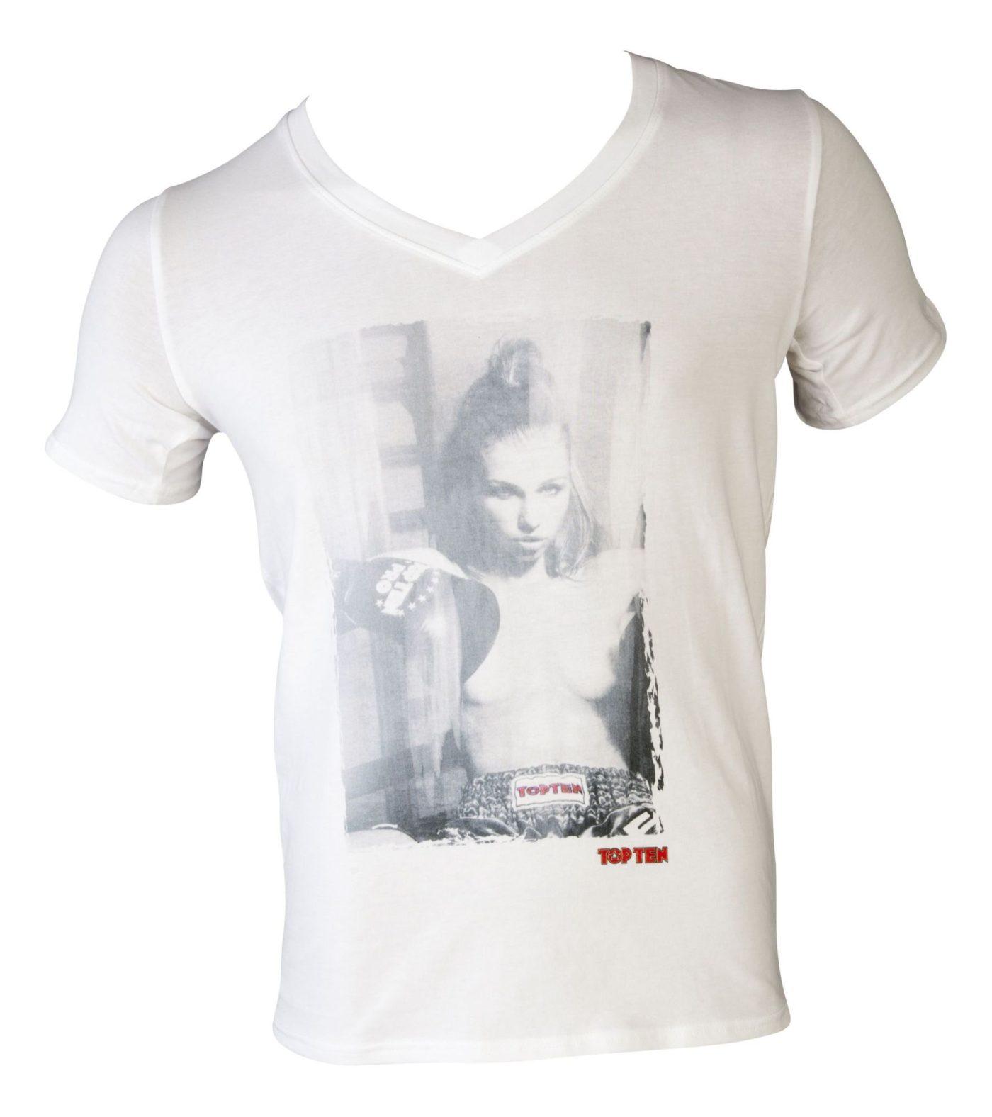 "T-Shirt  V-Hals ""Ringgirl sitting"" Wit"