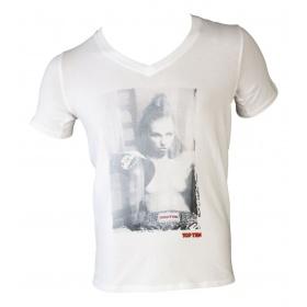 "TOP TEN T-Shirt  V-Hals ""Ringgirl sitting"" Wit"