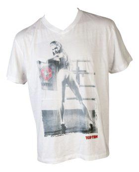 "T-Shirt  V-Hals ""Ringgirl standing"" Wit"